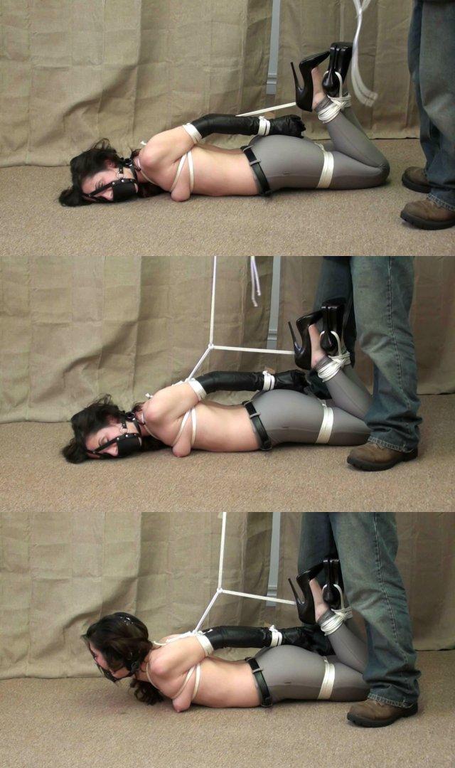 Tied toes feet in bondage video