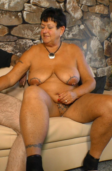 German tattooed granny Angelika K. get her tits cum covered in hot fuck
