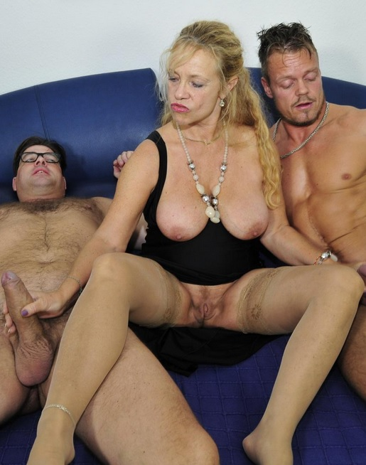 Mature blondie Beate G. gets her pussy pounded hard in German 3some