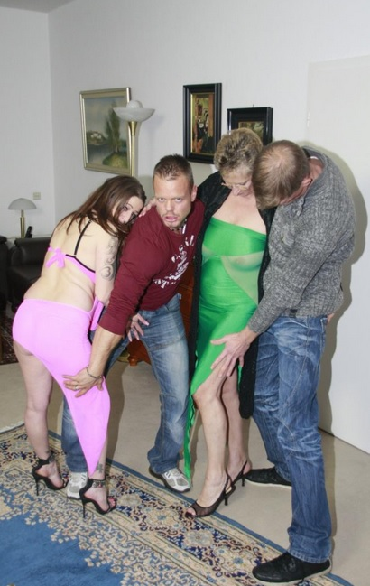 Wild mature German foursome with cum hungry swinger ladies