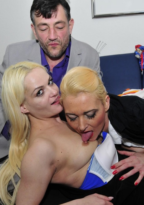 Hardcore FFM threesome with wild blonde swinger German babes