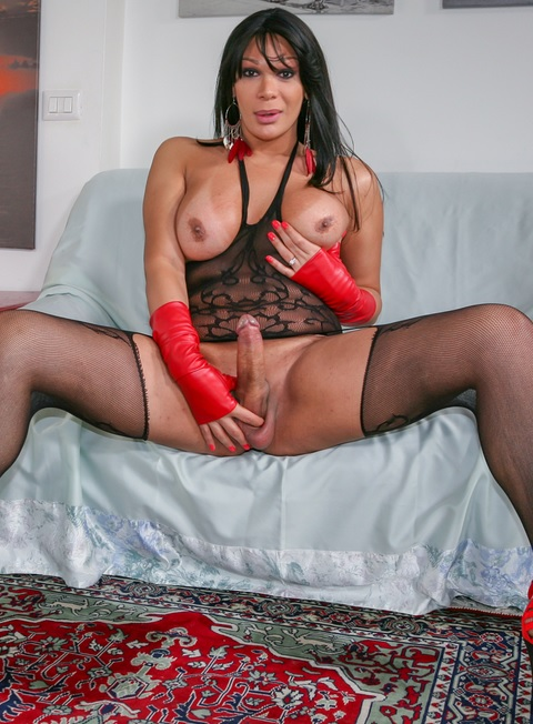 Wild threesome with hot brunette tranny and two big dicked studs