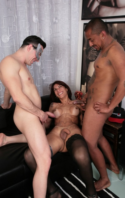 Gorgeous Latina tranny Karla Ciccarelli fucks in orgasmic threesome