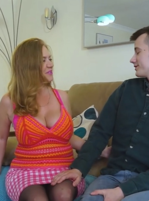 Big titted granny Lily May gets her pussy fucked and creampied by young guy