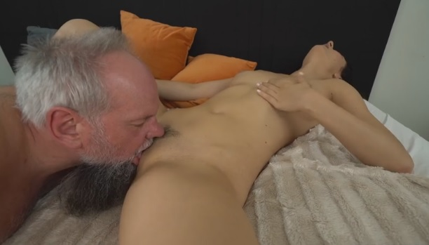 Lucky grandpa Albert enjoys fucking young brunette chick Melody Mae