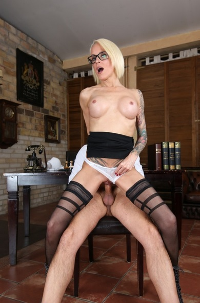 Blonde German MILF Sophie Logan rides boss and gets cum on pussy