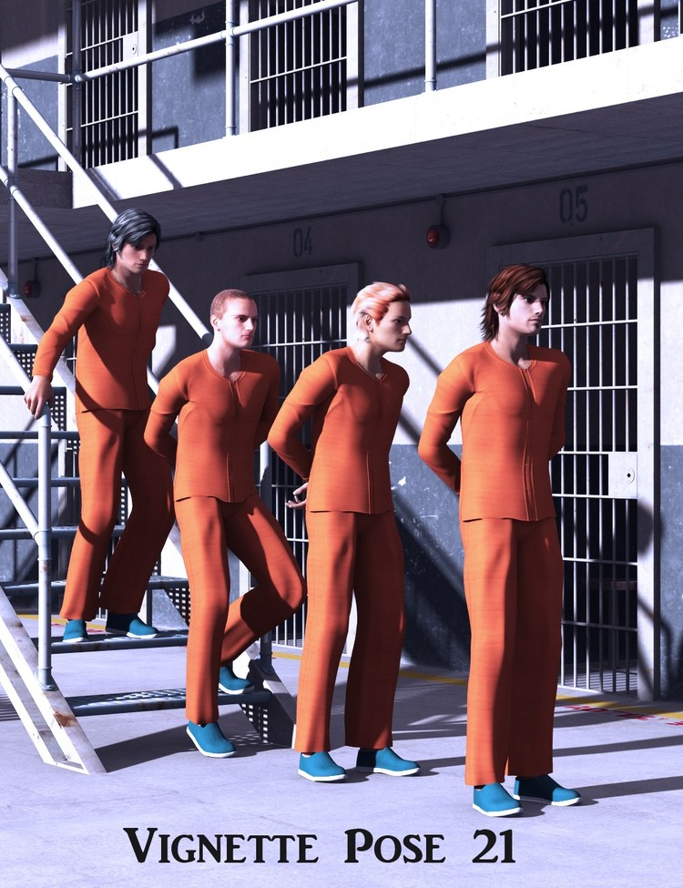 Prison Cell Block 'K' - Doing Time Poses for Genesis 2 Male(s)