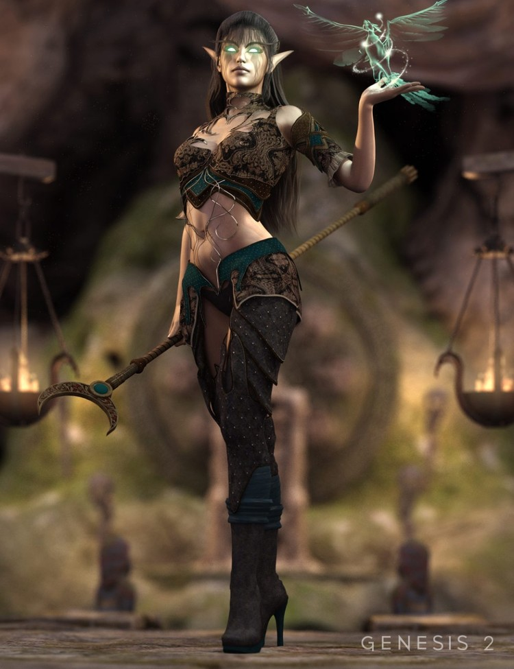 Dark Elf Enchantress Outfit for Genesis 2 Female(s) - Dark Elf Enchantress Textures