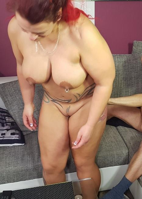Chubby alternative German housewife eats cum