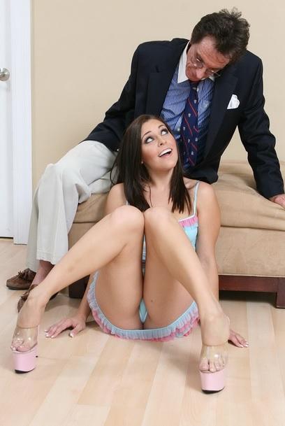 Amazing brunette babe fucks her stepdad