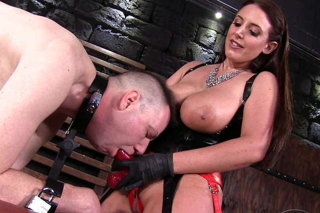 Mistress amy takes turns hammering men with a strapon 6