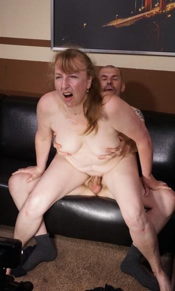 Blonde German slut in her 40s goes for deep cock suck