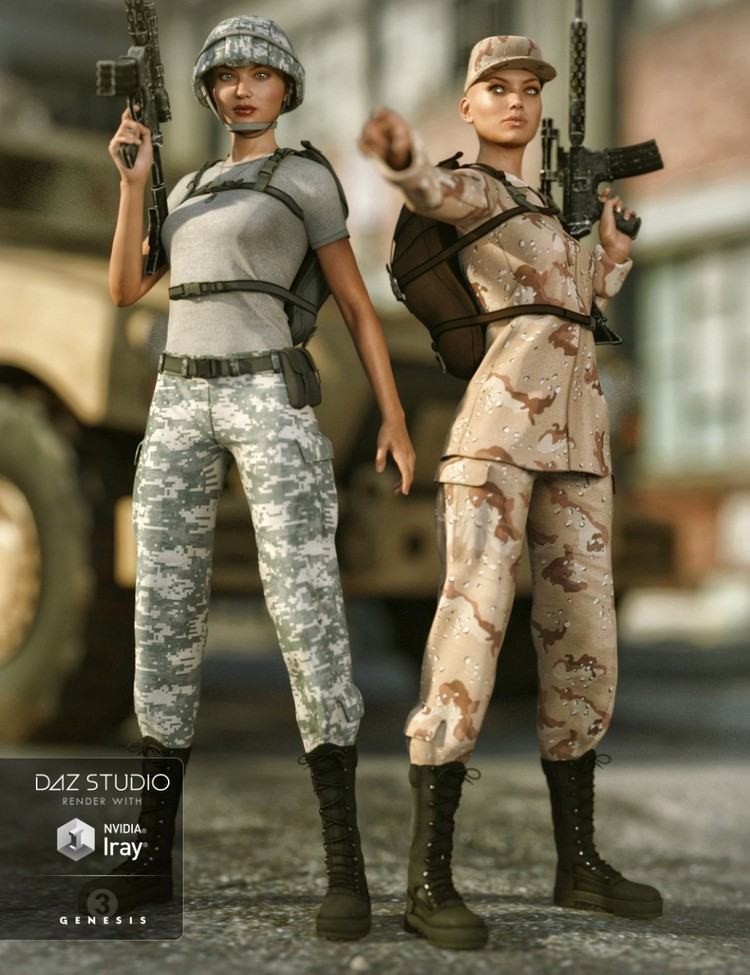 Army Uniform for Genesis 3 Female(s) and Genesis 2 Female(s) - Army Uniform Textures