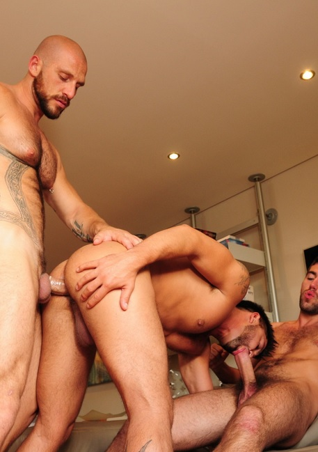 Newbie Damian has a really impressive slab of meat between