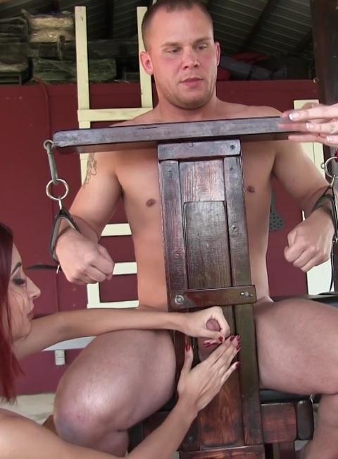 Rikki & Jade milk their slave and then he eats his cum
