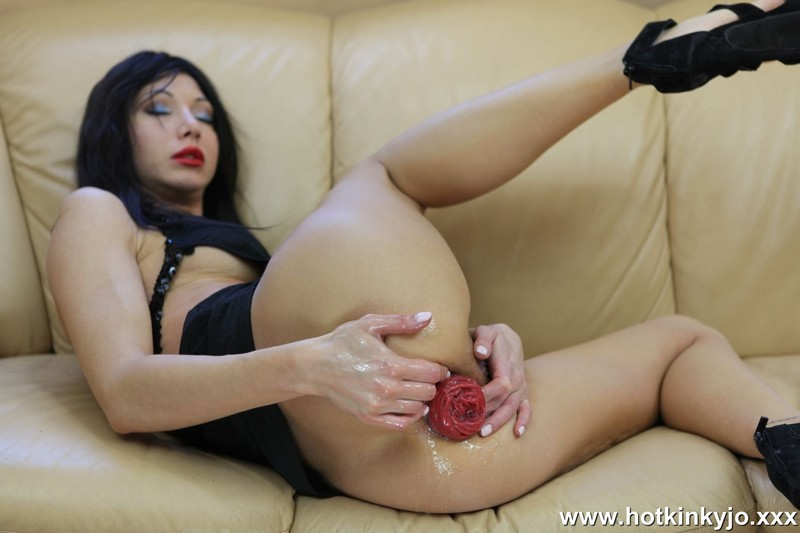 Download [HotKinkyJo.xxx] Black dress self anal fisting on the coach