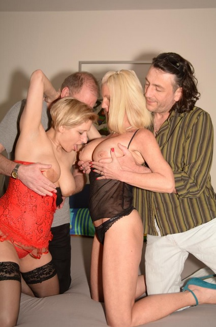 Hardcore foursome with blonde whores Teresa