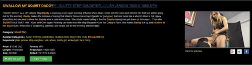 Women On Top: SWALLOW MY SQUIRT DADDY!!! – SLUTTY STEP-DAUGHTER JILLIAN JANSON 1920 X 1080 MP4
