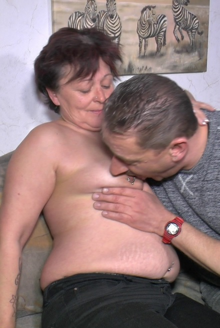 Chubby amateur German granny enjoys hardcore sex and cum on tits