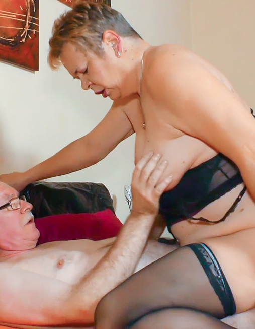 Wild German granny takes a hard cock in her slutty mouth and twat