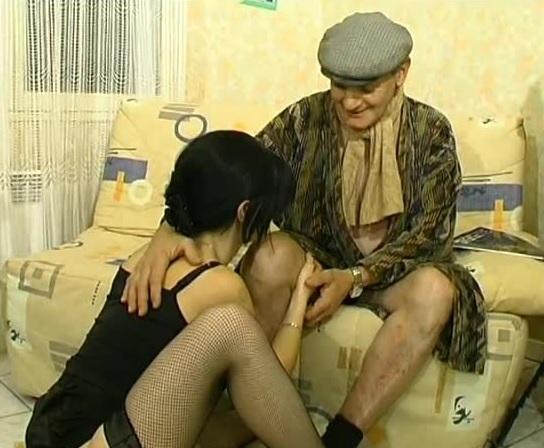 Brunette sucks grandpas cock