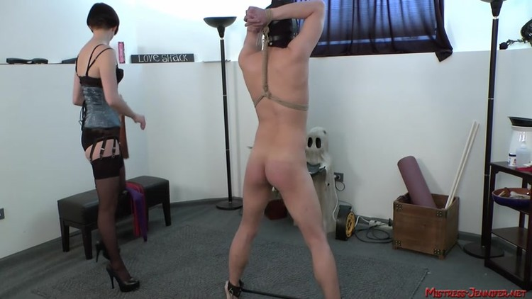 Mistress thoroughly dominates her male slave 9