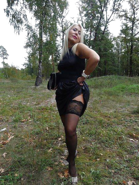 Wife In Sexy Stockings Posing In Nature