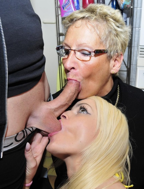 Laundry room threesome with German blondies