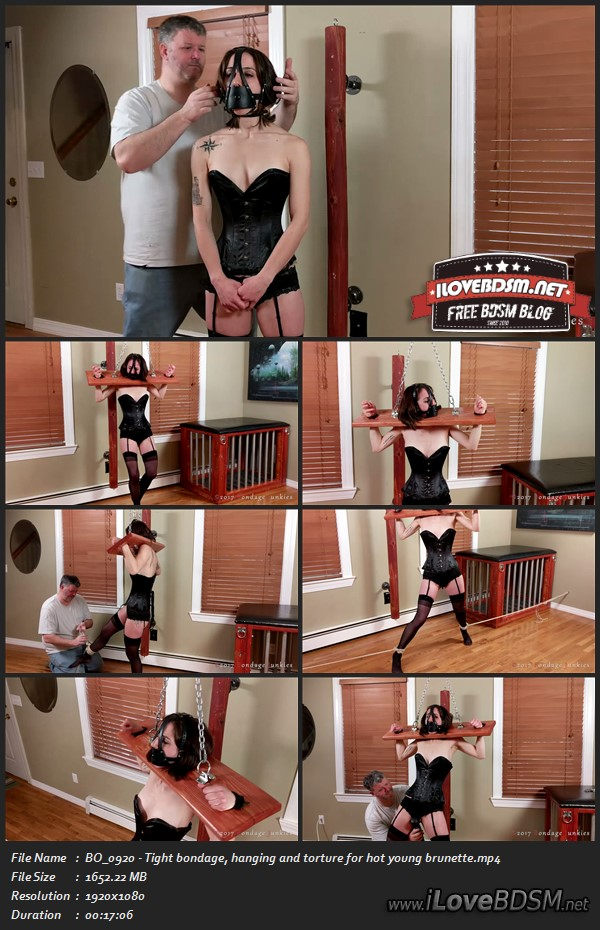 BO_0920 - Tight bondage, hanging and torture for hot young brunette,